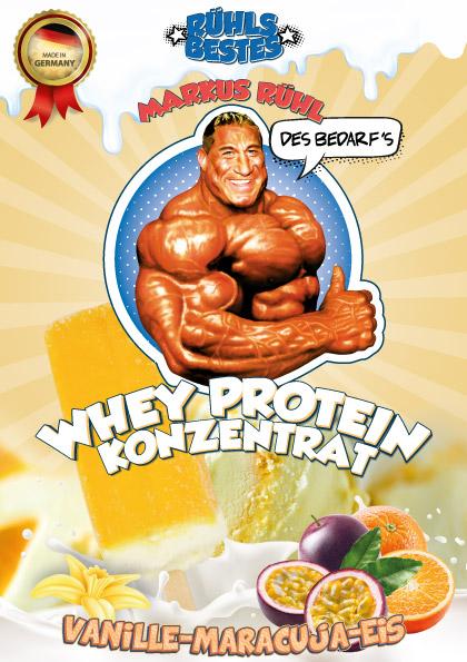 Whey Konzentrat Protein mit Vanille-Maracuja-Eis-Geschmack